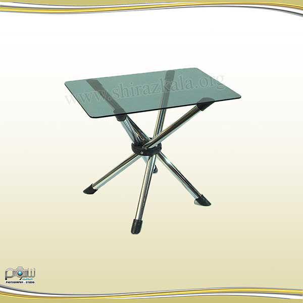 میز عسلی پایه تلسکوپی با شیشه سکوریت دودی، گل میز پایه تلسکوپی