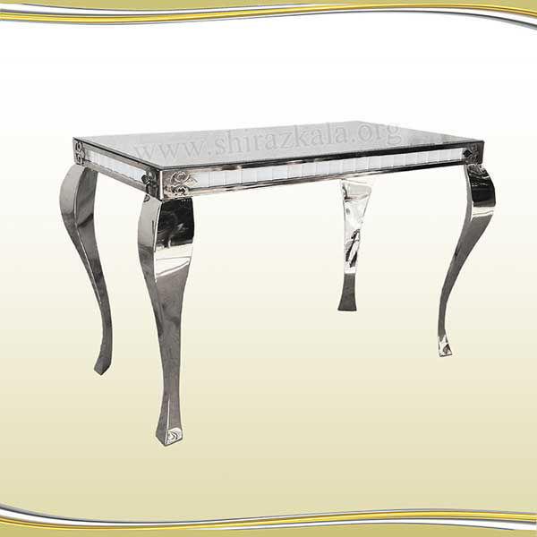 تصویر میز کوئین فلزی نقره ای سایز 140*80