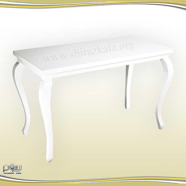 تصویر میز کوئین چوبی سفید