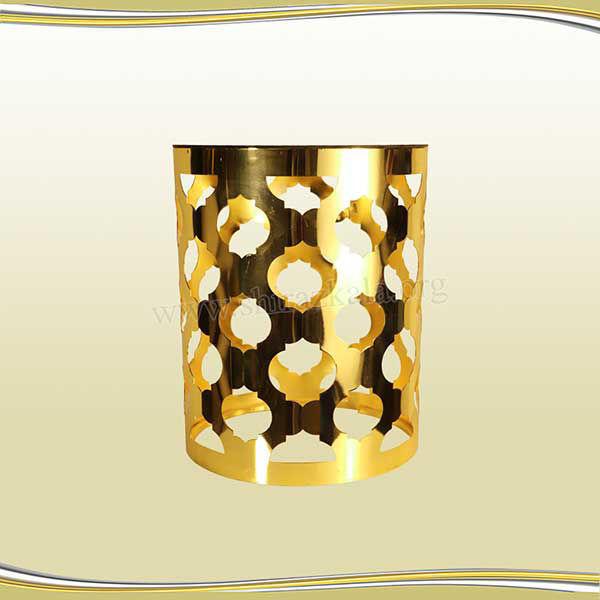 تصویر میز دکوری  طلایی طرح اناری سایز بزرگ