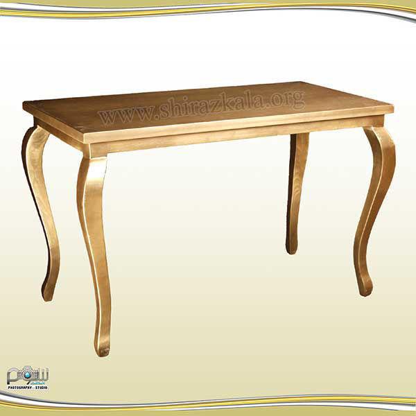 تصویر میز کوئین چوبی طلایی