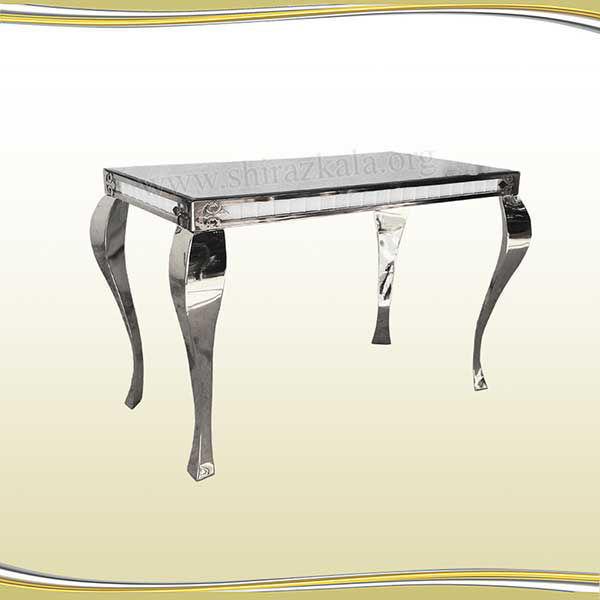 تصویر میز کوئین فلزی نقره ای سایز 120*60