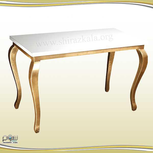 تصویر میز کوئین طلایی با صفحه سفید