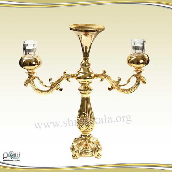 تصویر شمعدان ۲ شاخه طلایی بدون گل