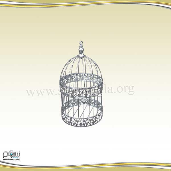 تصویر قفس نقره ای طرحدار کوچک