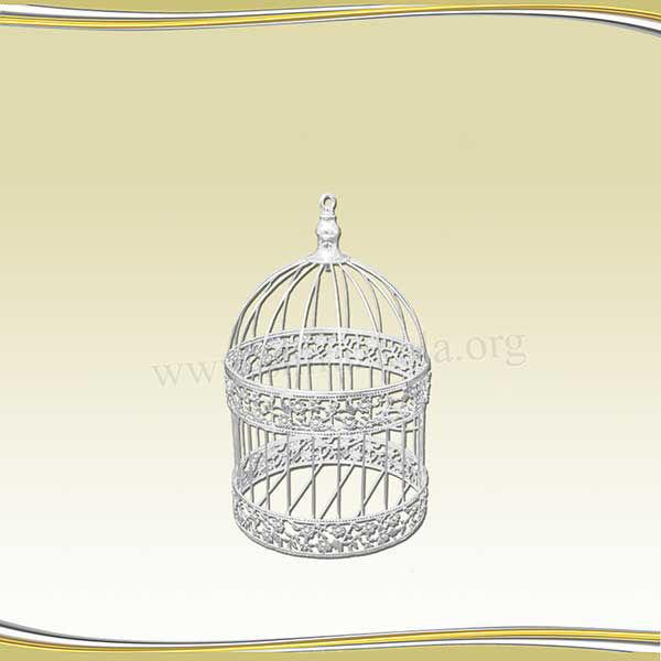 تصویر قفس سفید طرحدار کوچک